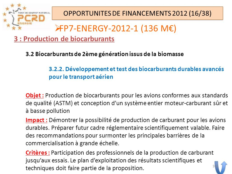 OPPORTUNITES DE FINANCEMENTS 2012 (16/38)