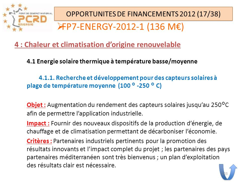 OPPORTUNITES DE FINANCEMENTS 2012 (17/38)