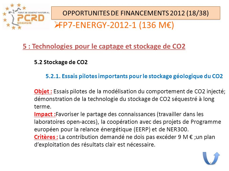 OPPORTUNITES DE FINANCEMENTS 2012 (18/38)