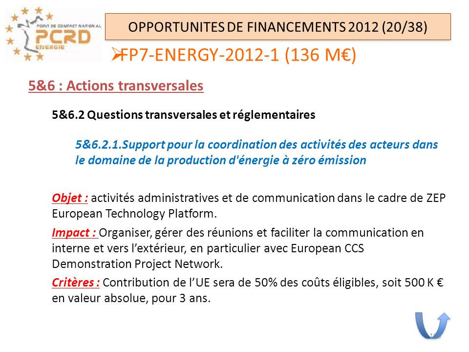 OPPORTUNITES DE FINANCEMENTS 2012 (20/38)