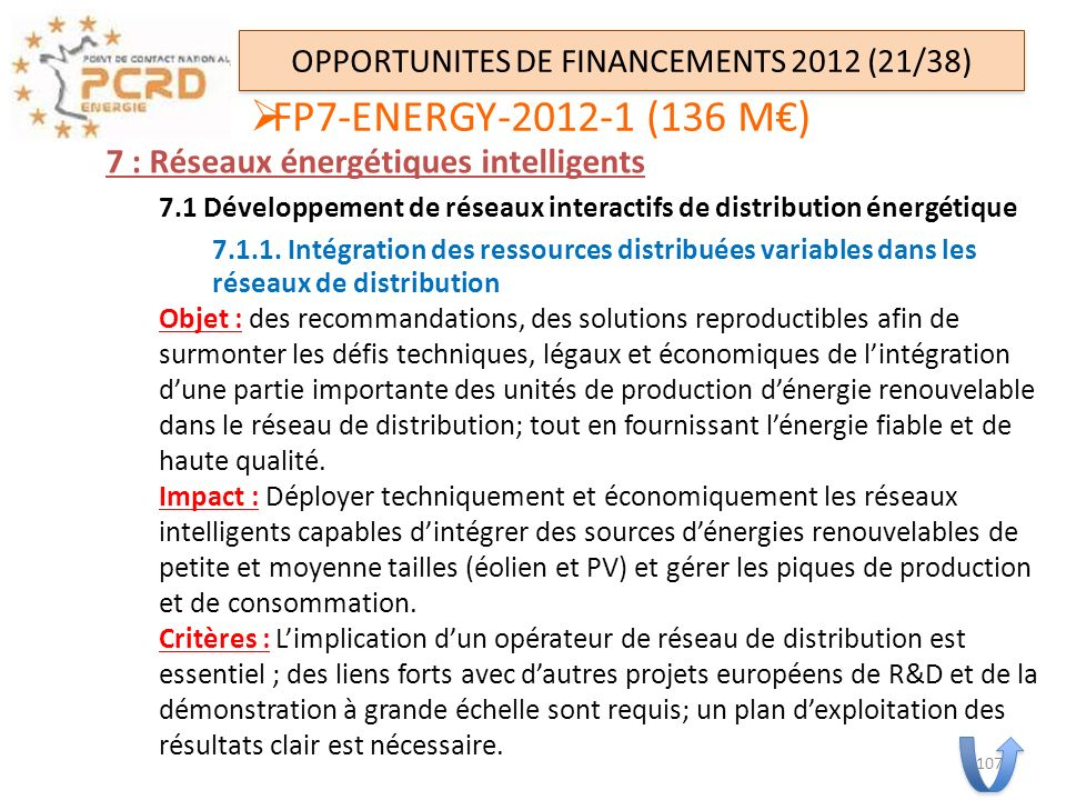 OPPORTUNITES DE FINANCEMENTS 2012 (21/38)