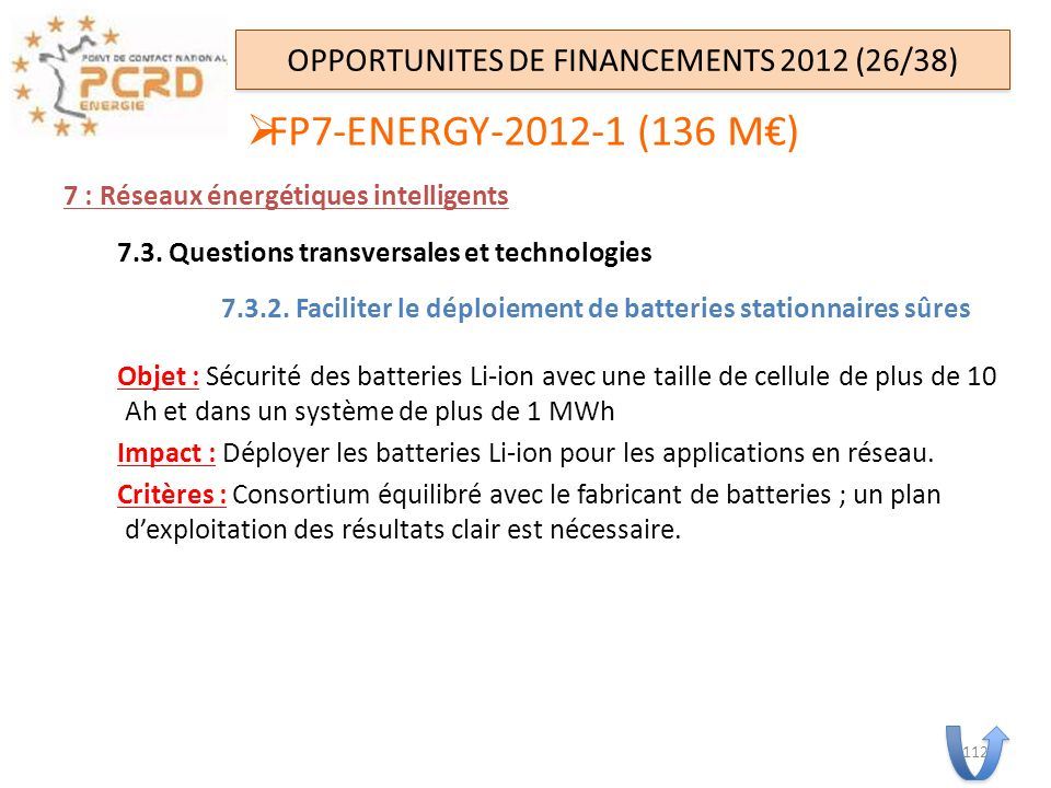 OPPORTUNITES DE FINANCEMENTS 2012 (26/38)