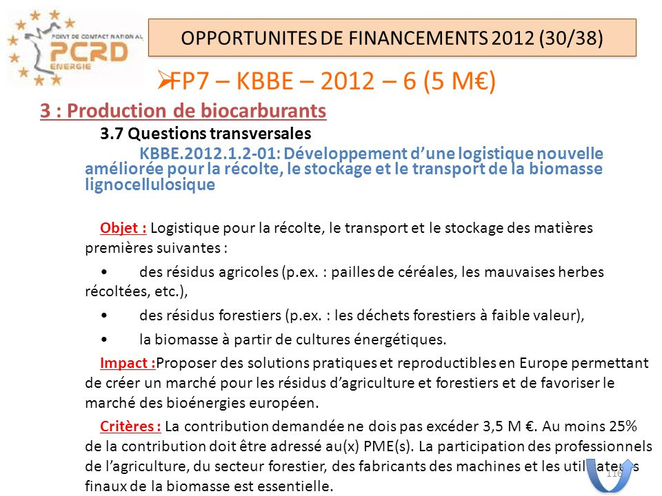 OPPORTUNITES DE FINANCEMENTS 2012 (30/38)