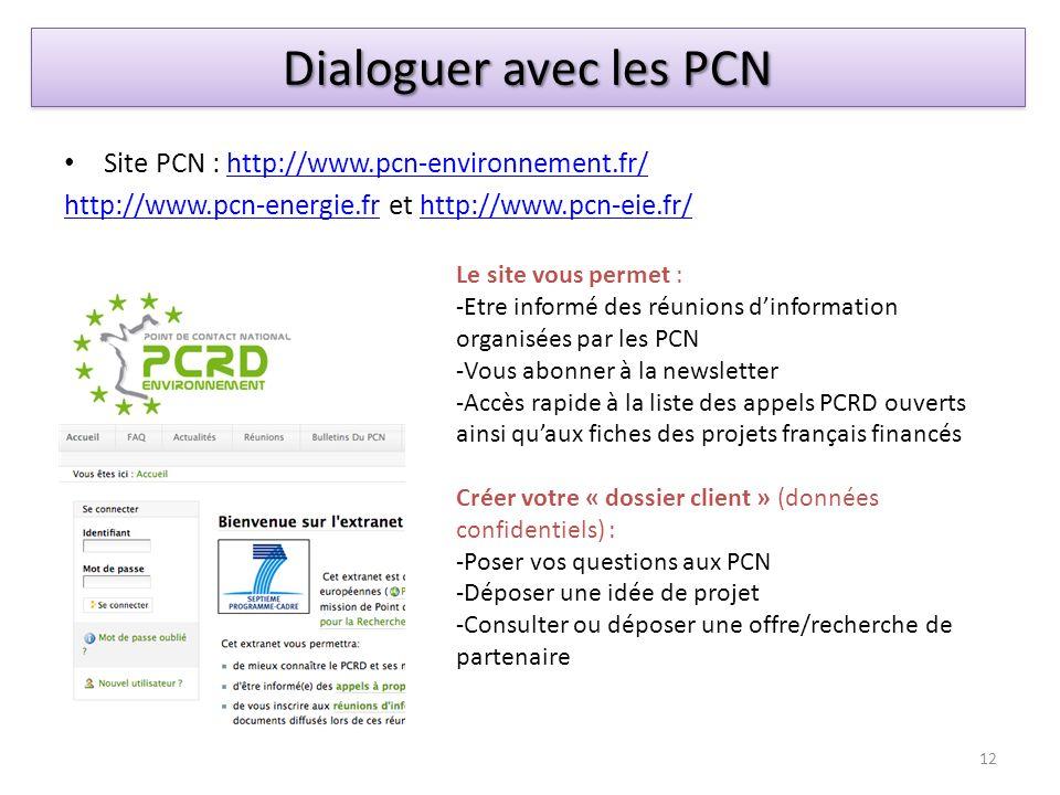 Dialoguer avec les PCN Site PCN : http://www.pcn-environnement.fr/