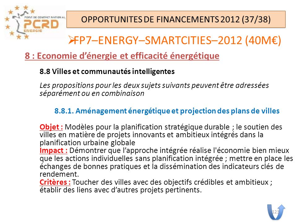 OPPORTUNITES DE FINANCEMENTS 2012 (37/38)