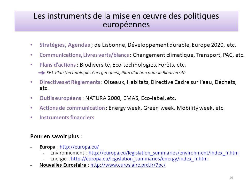 Les instruments de la mise en œuvre des politiques européennes