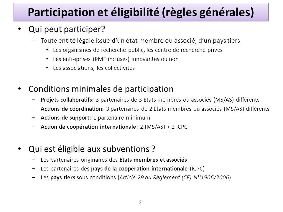 Participation et éligibilité (règles générales)