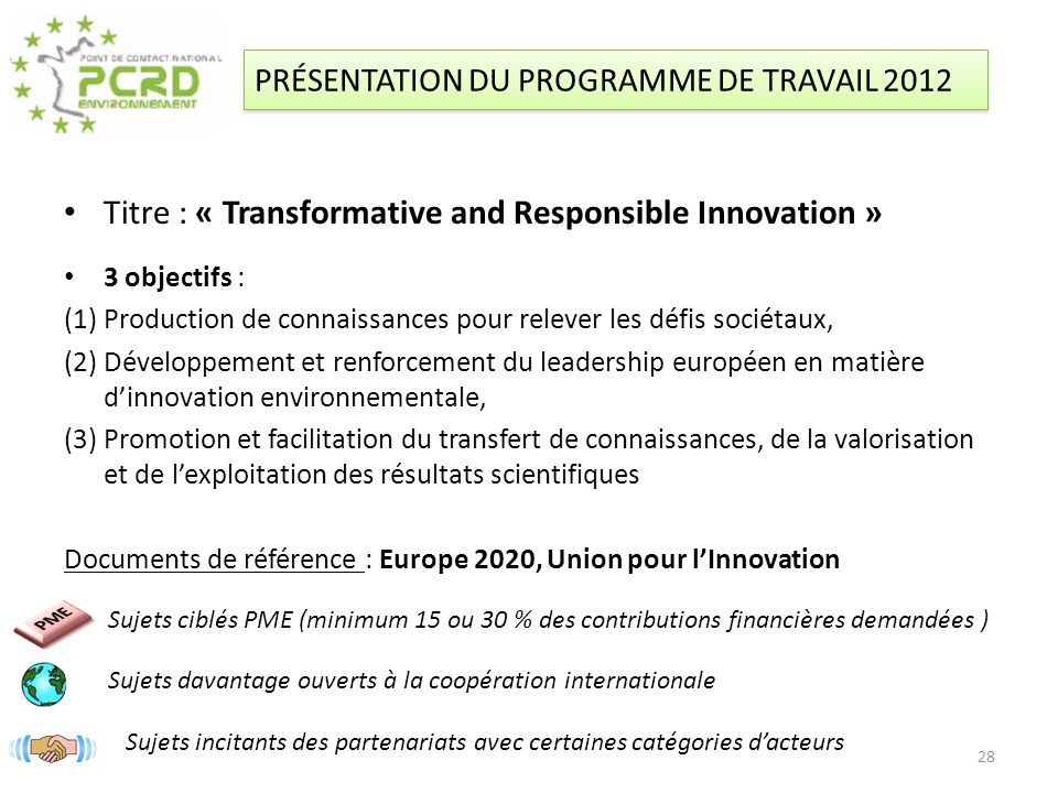 Titre : « Transformative and Responsible Innovation »