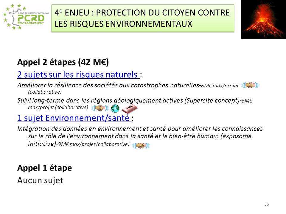 4e ENJEU : PROTECTION DU CITOYEN CONTRE LES RISQUES ENVIRONNEMENTAUX