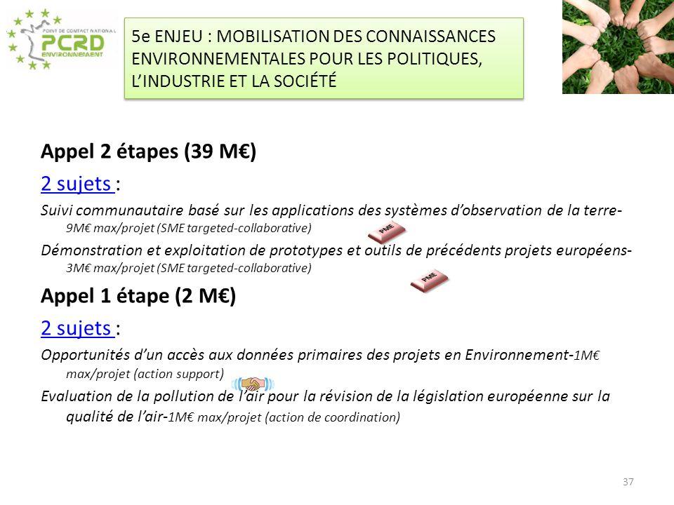 Appel 2 étapes (39 M€) 2 sujets : Appel 1 étape (2 M€)
