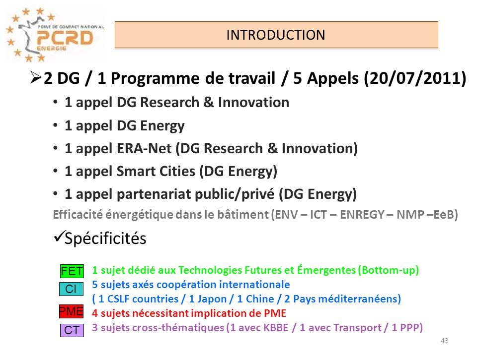 2 DG / 1 Programme de travail / 5 Appels (20/07/2011)