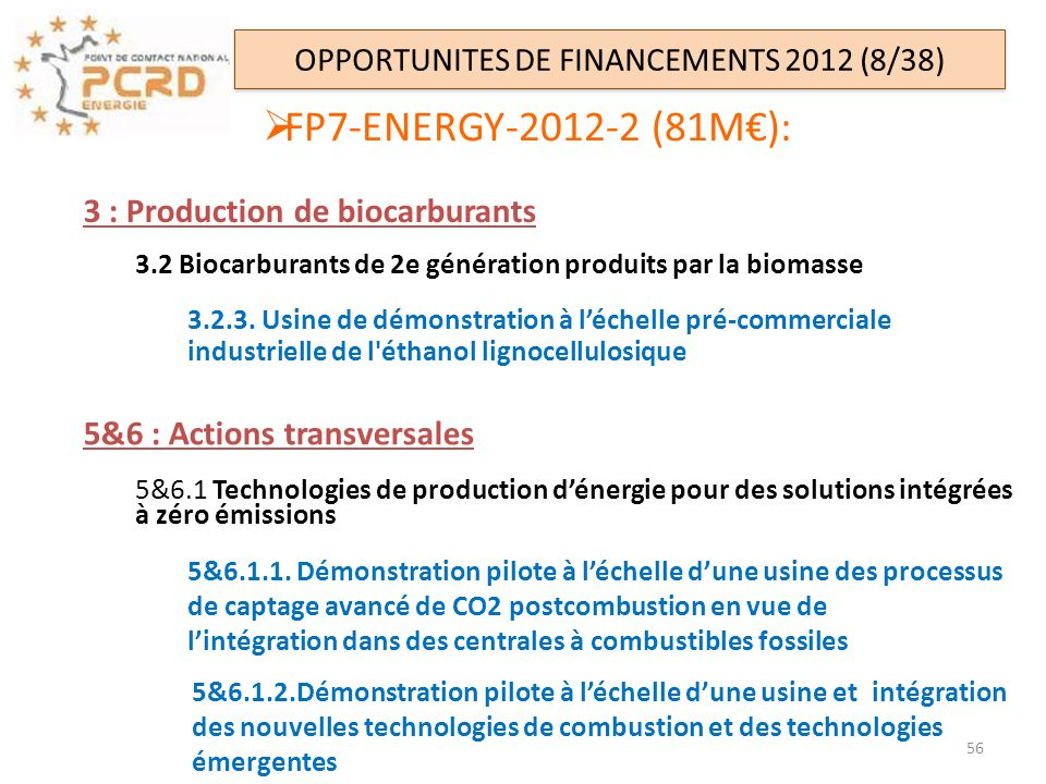 OPPORTUNITES DE FINANCEMENTS 2012 (8/38)