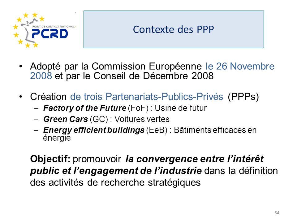 Contexte des PPP Adopté par la Commission Européenne le 26 Novembre 2008 et par le Conseil de Décembre 2008.