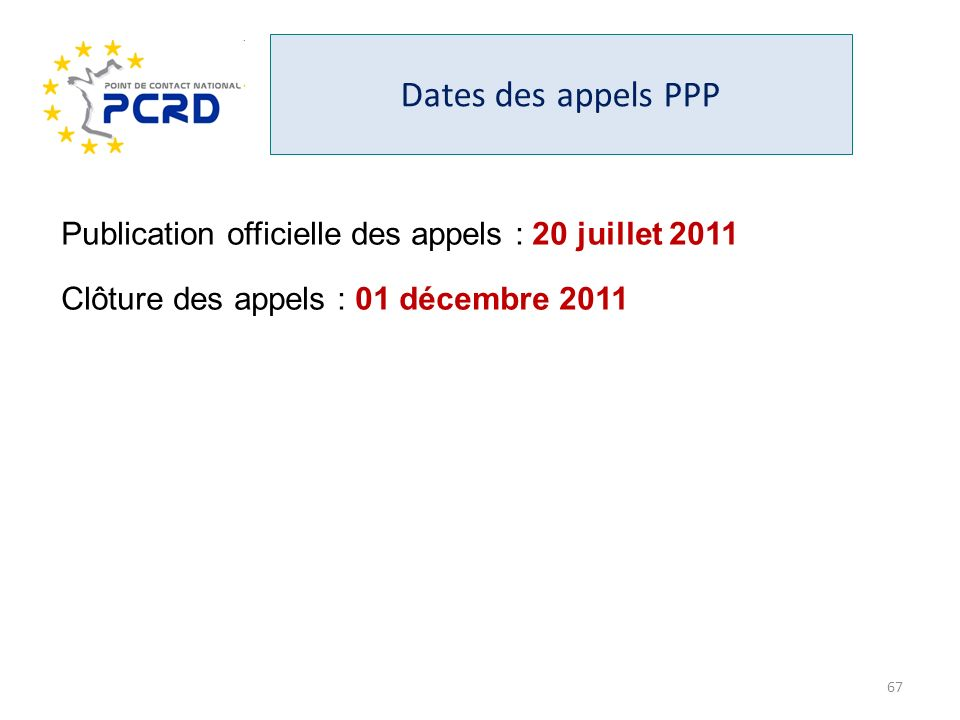 Dates des appels PPP Publication officielle des appels : 20 juillet 2011.