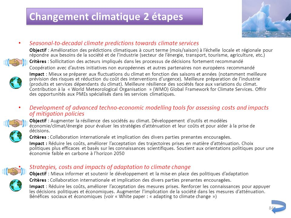 Changement climatique 2 étapes