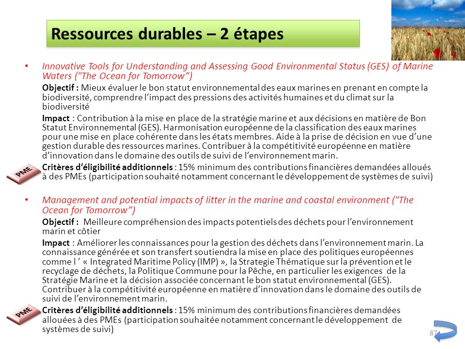 Ressources durables – 2 étapes