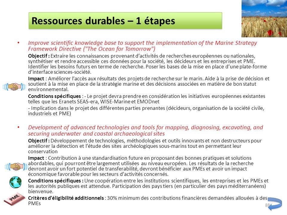 Ressources durables – 1 étapes