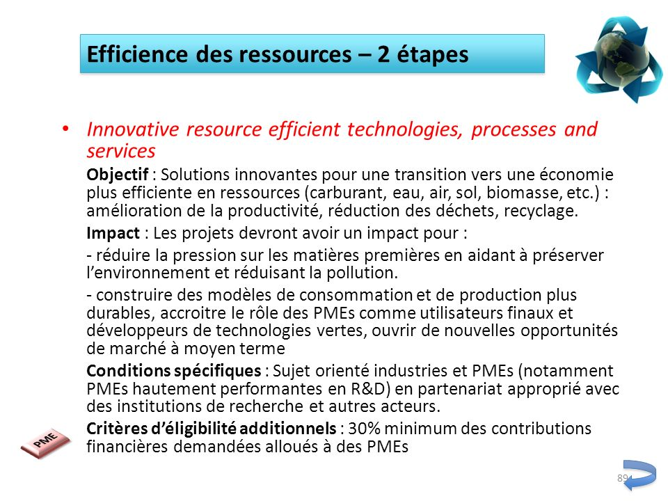 Efficience des ressources – 2 étapes