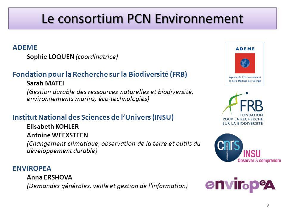 Le consortium PCN Environnement