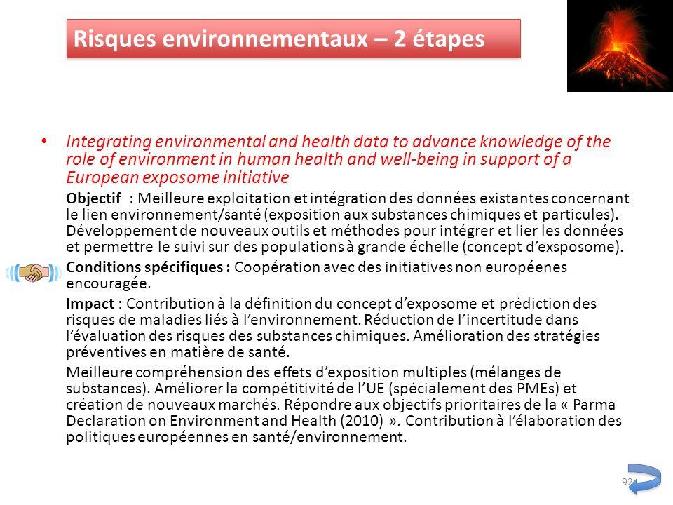 Risques environnementaux – 2 étapes