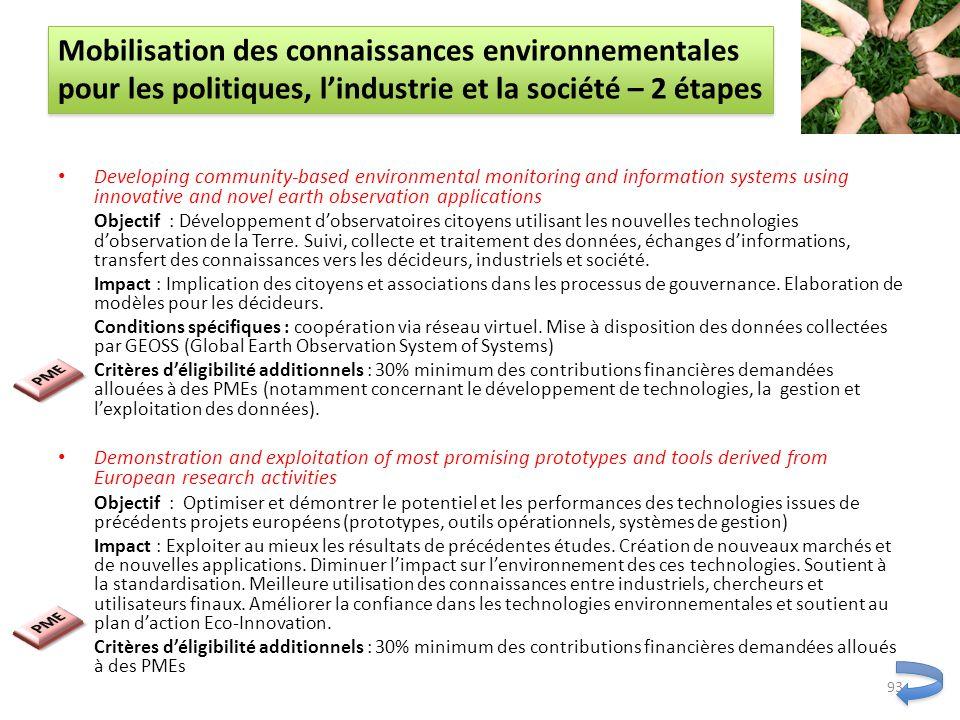 Mobilisation des connaissances environnementales pour les politiques, l'industrie et la société – 2 étapes