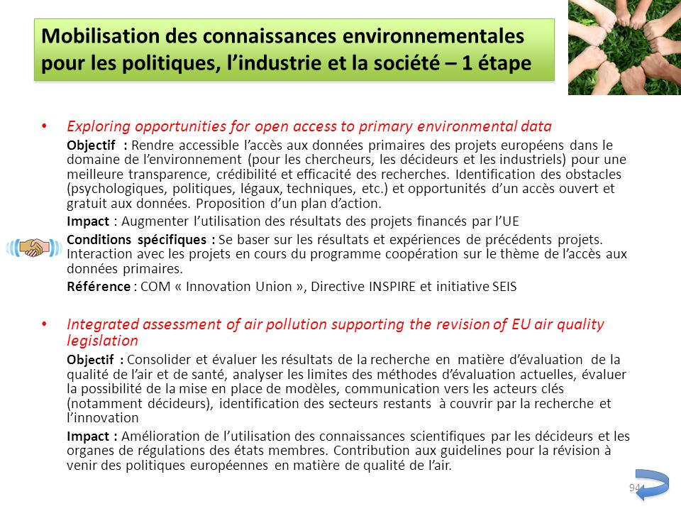 Mobilisation des connaissances environnementales pour les politiques, l'industrie et la société – 1 étape