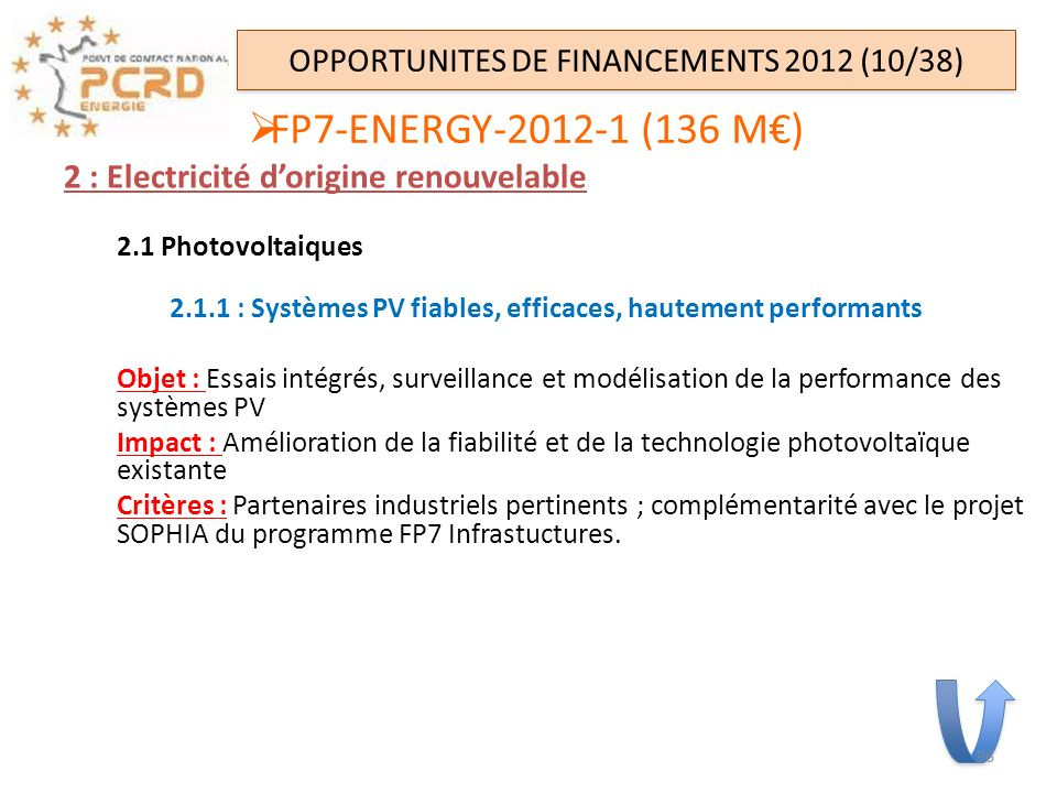 OPPORTUNITES DE FINANCEMENTS 2012 (10/38)