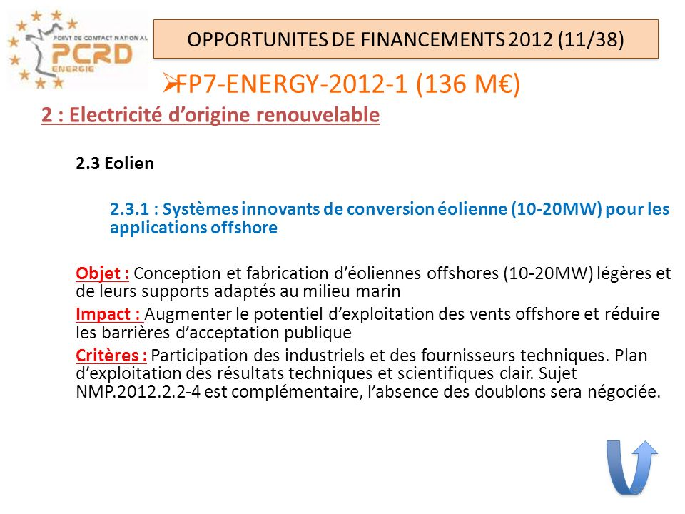 OPPORTUNITES DE FINANCEMENTS 2012 (11/38)