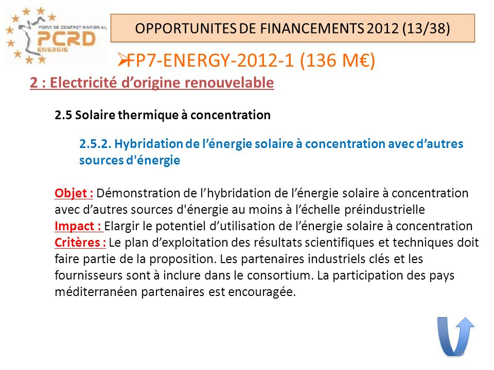 OPPORTUNITES DE FINANCEMENTS 2012 (13/38)