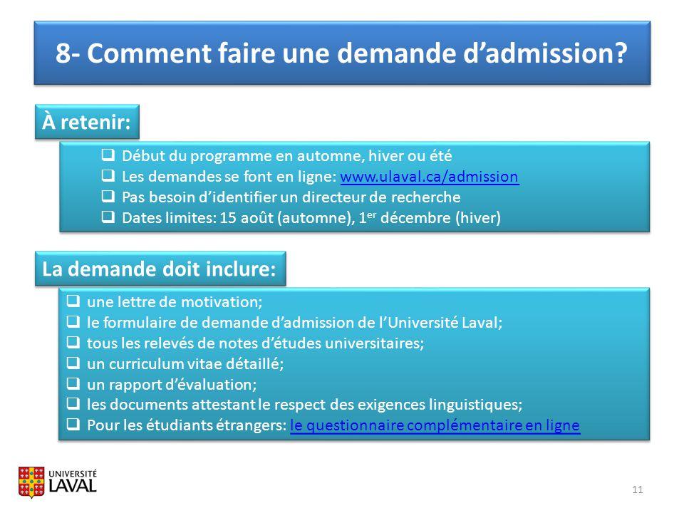 8- Comment faire une demande d'admission