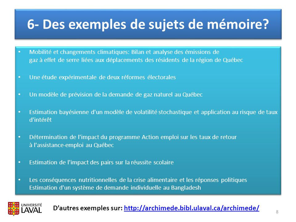 6- Des exemples de sujets de mémoire