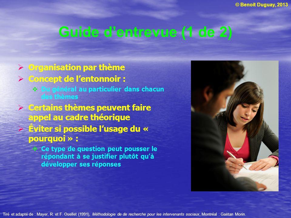 Guide d'entrevue (1 de 2) Organisation par thème