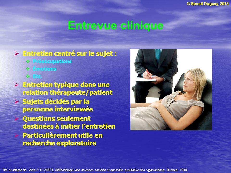 Entrevue clinique Entretien centré sur le sujet :