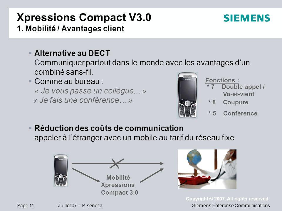 Xpressions Compact V3.0 1. Mobilité / Avantages client