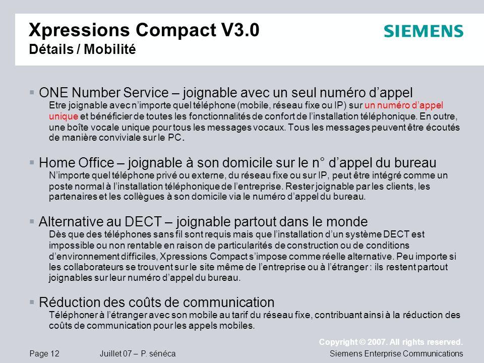 Xpressions Compact V3.0 Détails / Mobilité