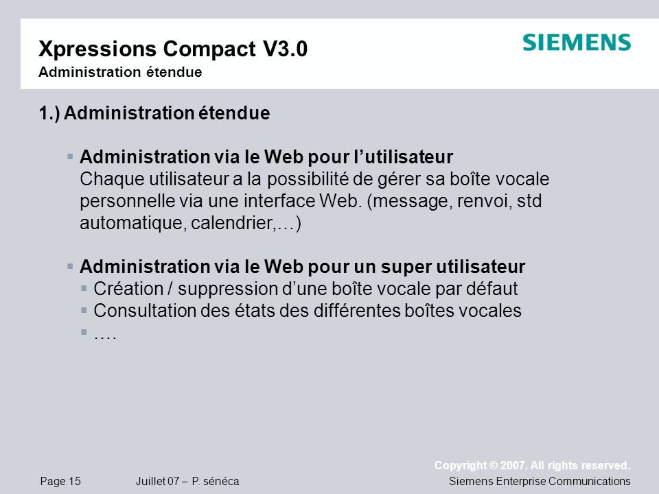 Xpressions Compact V3.0 Administration étendue