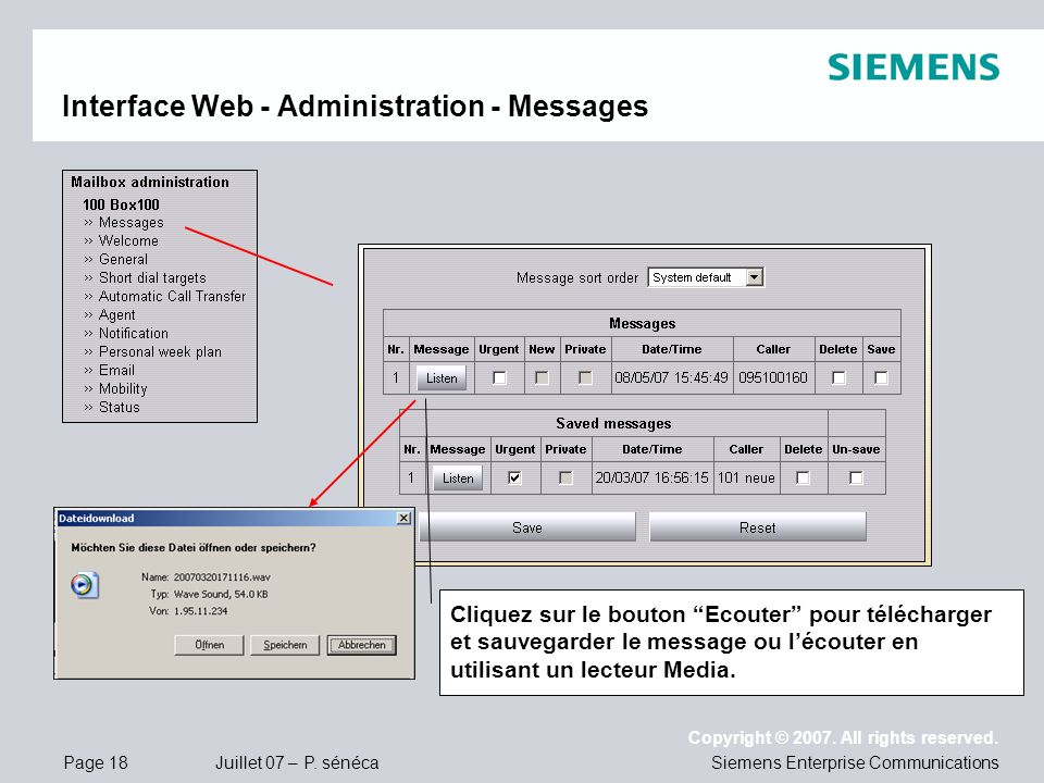 Interface Web - Administration - Messages