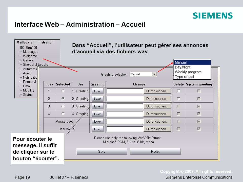 Interface Web – Administration – Accueil