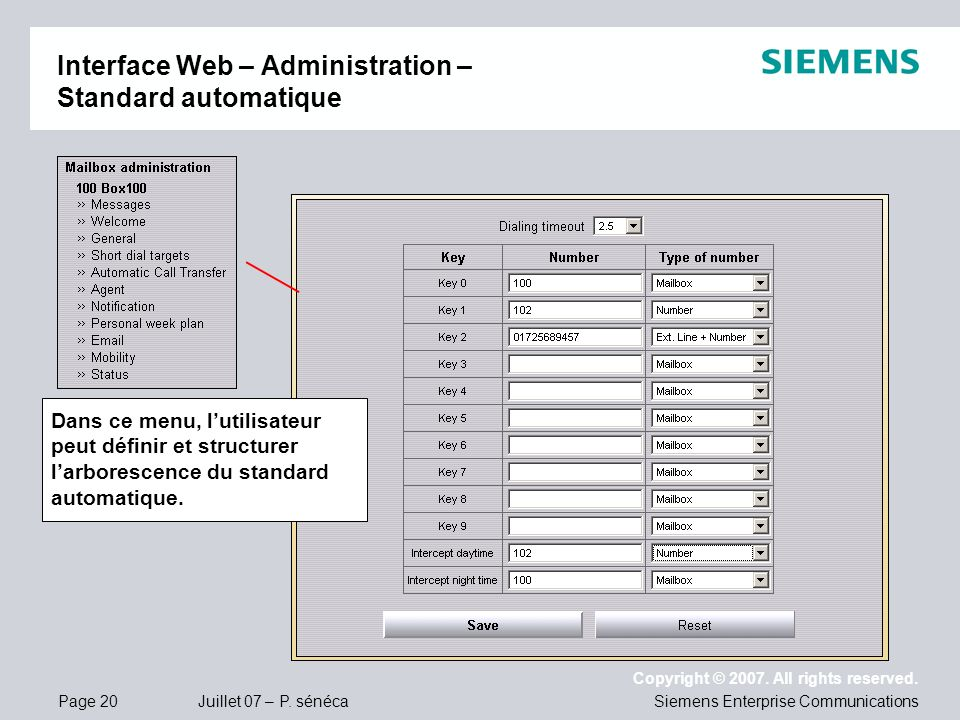 Interface Web – Administration – Standard automatique