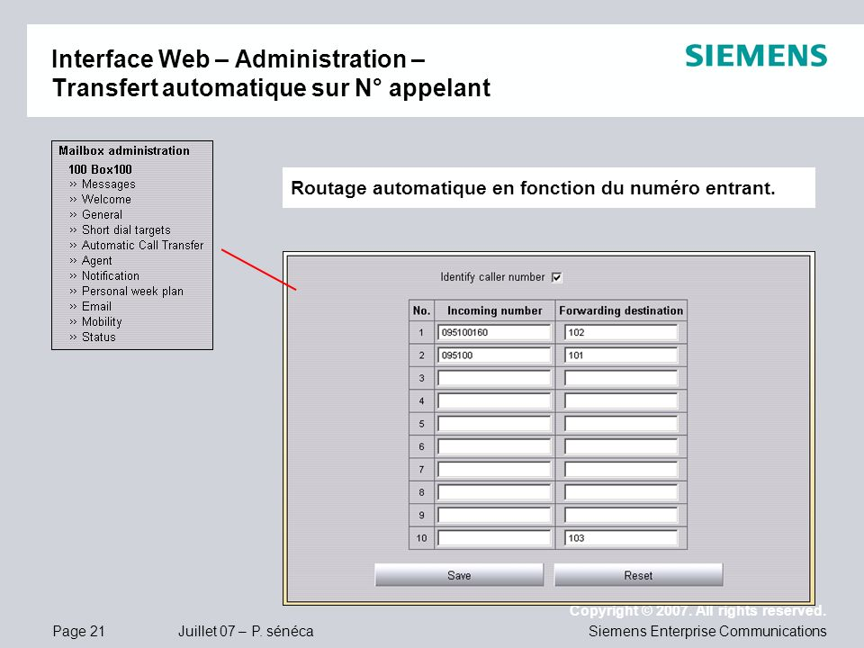 Interface Web – Administration – Transfert automatique sur N° appelant