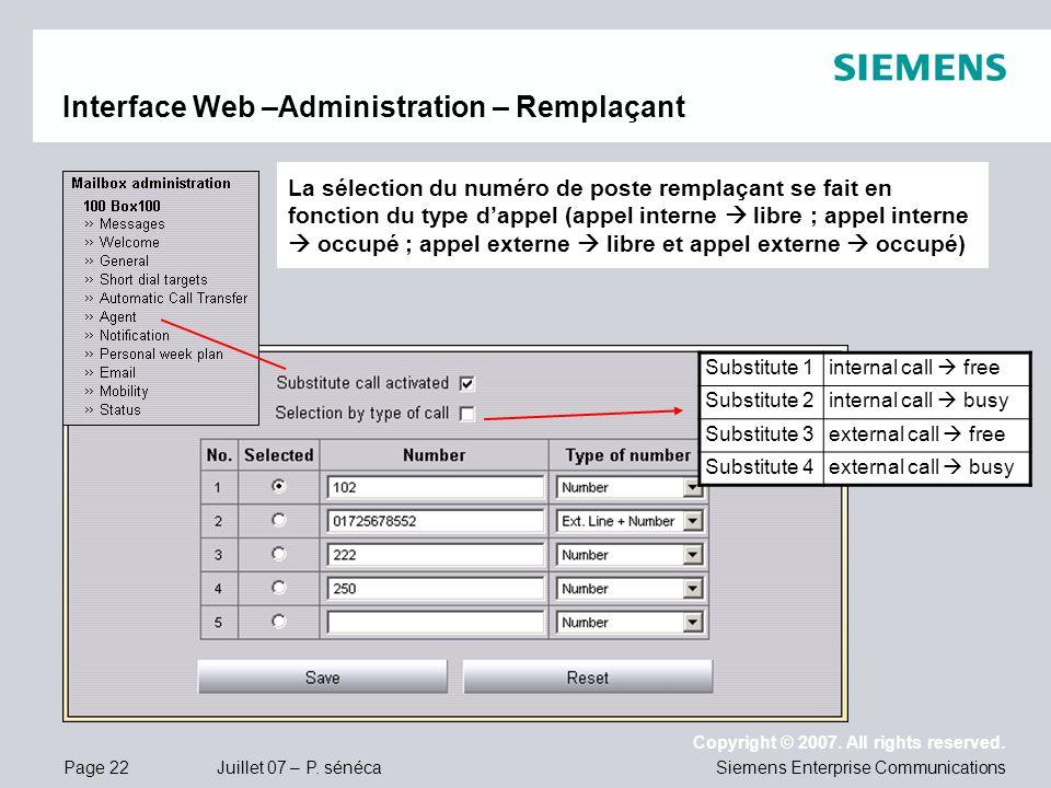 Interface Web –Administration – Remplaçant