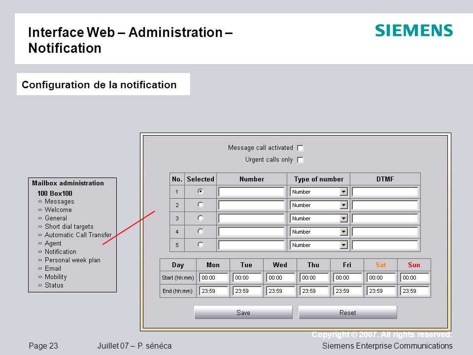 Interface Web – Administration – Notification