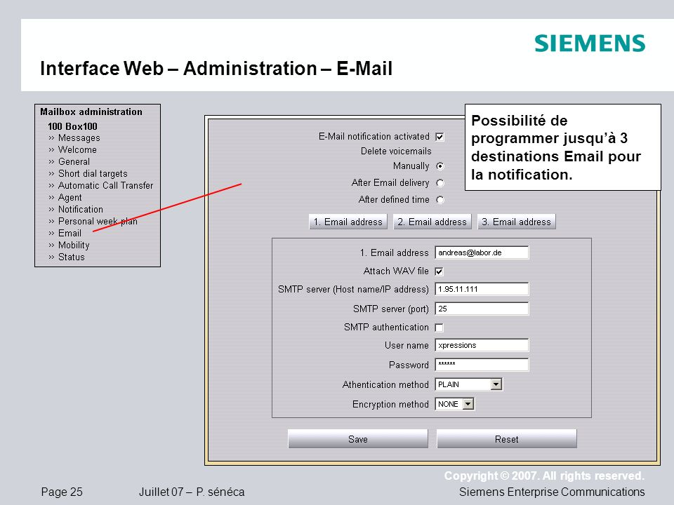 Interface Web – Administration – E-Mail