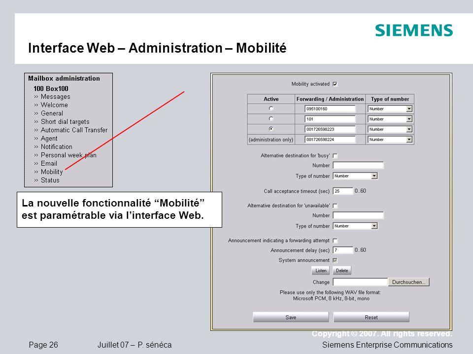Interface Web – Administration – Mobilité