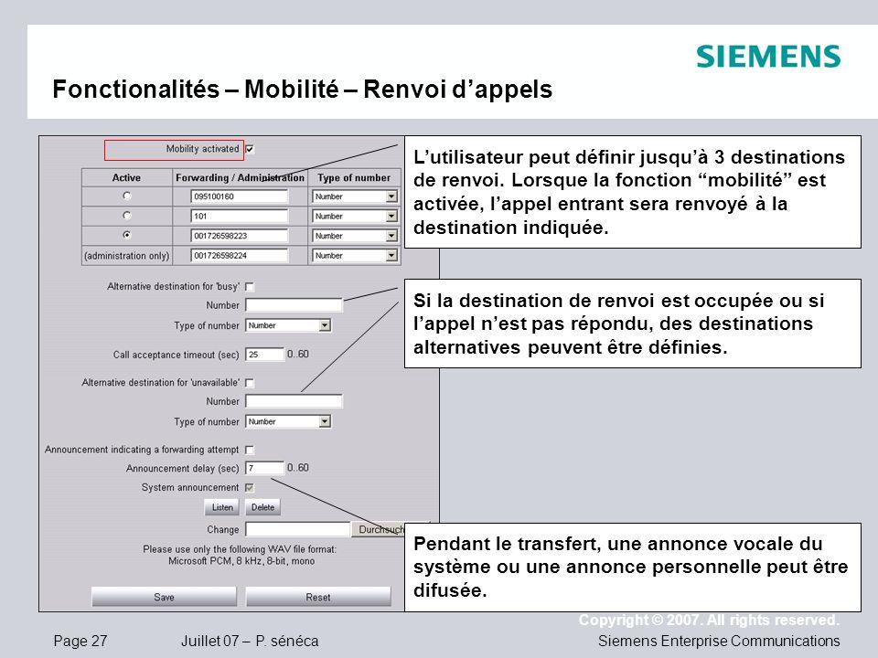 Fonctionalités – Mobilité – Renvoi d'appels