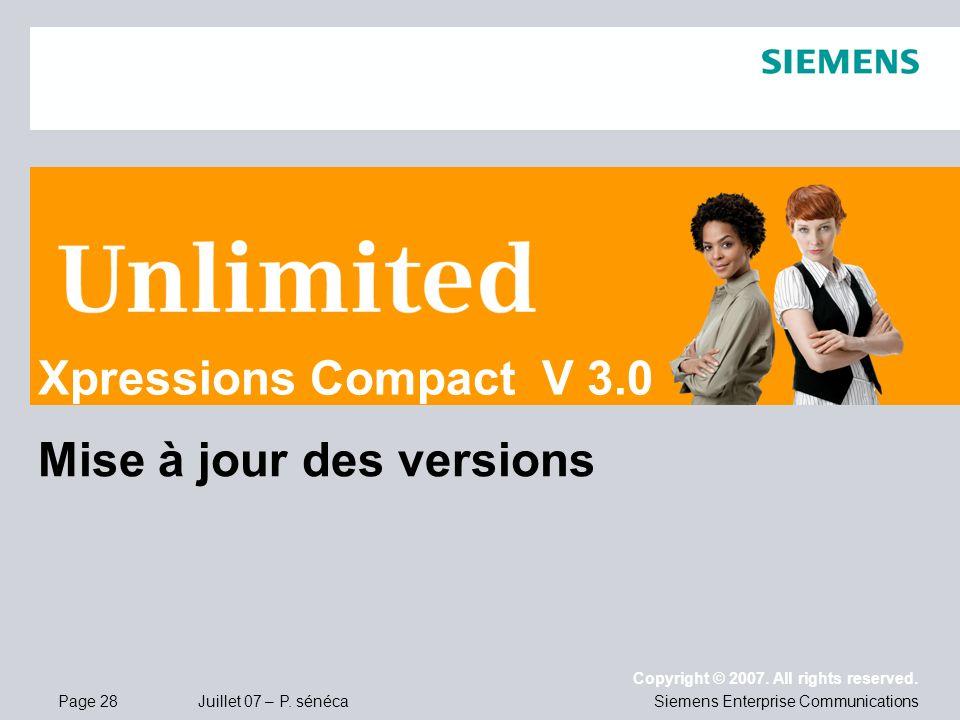 Xpressions Compact V 3.0 Mise à jour des versions