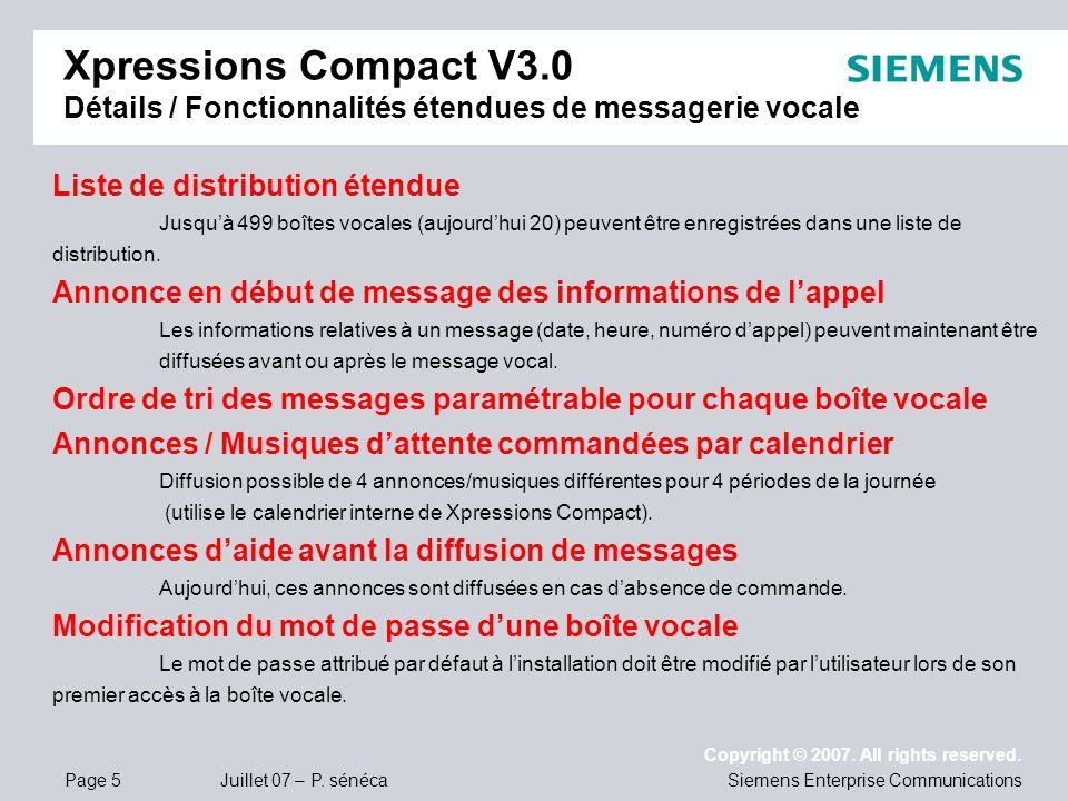 Xpressions Compact V3.0 Détails / Fonctionnalités étendues de messagerie vocale
