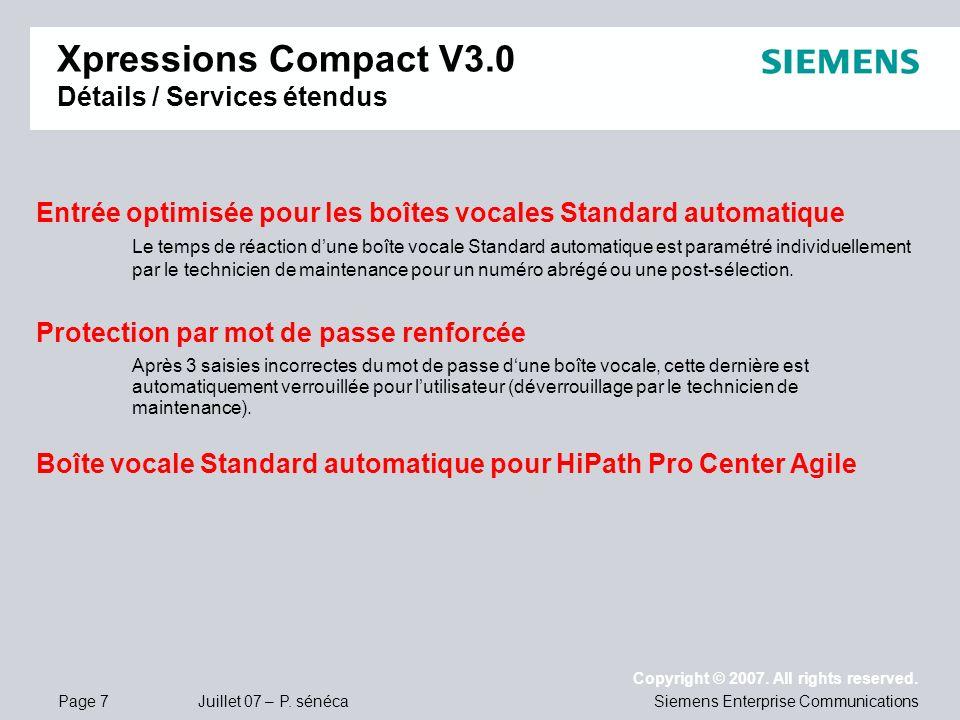 Xpressions Compact V3.0 Détails / Services étendus
