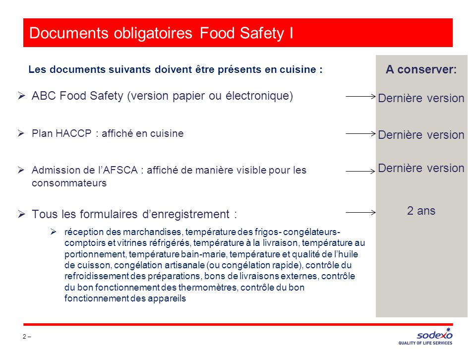 Documents obligatoires Food Safety I