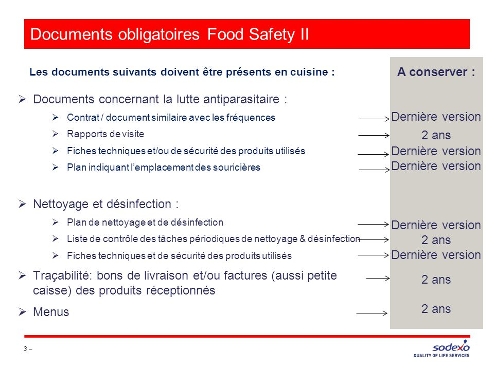 Documents obligatoires Food Safety II
